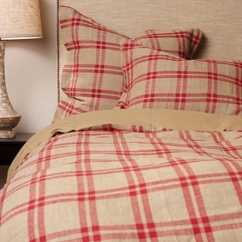 Neil Red Plaid Linen Duvet Cover