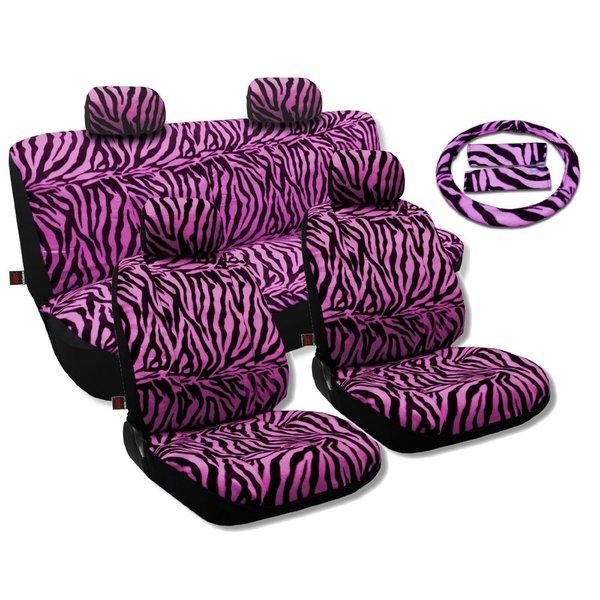 Purple Zebra 17 Piece Animal Print Seat Covers And Two Tone Floor Mats Set