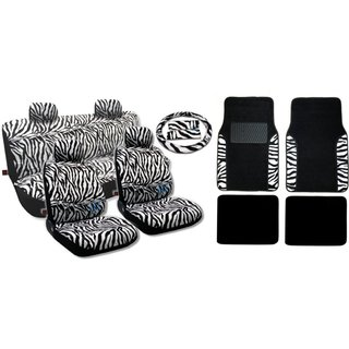 White Zebra 17-piece Animal Print Seat Covers and Two-tone Floor Mats Set