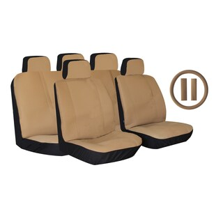 Tan Premium Synthetic PU Faux Leather 14-piece Seat Cover Set