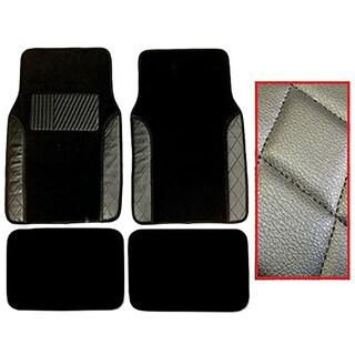 Black Two-tone Diamond-stitch Carpet Mats