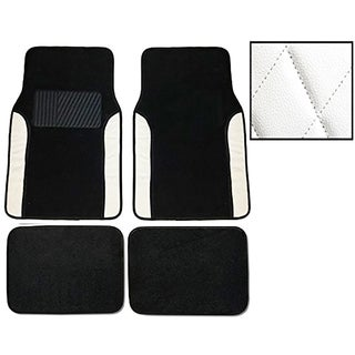 White Two-tone Diamond-stitch Carpet Mats