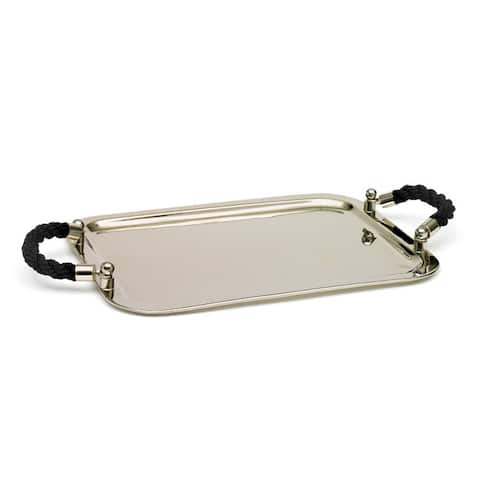 Polished Nickel Rectangle Tray with Black Handle