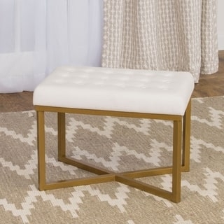 HomePop Rectangular Ottoman with White Velvet Tufted Cushion and Gold Metal X Base https://ak1.ostkcdn.com/images/products/11413178/P18377154.jpg?impolicy=medium