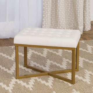 Clay Alder Home Meridian Rectangular Ottoman with White Velvet Tufted Cushion and Gold Metal X Base