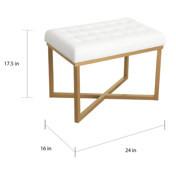 Silver Orchid Hartau Rectangular Ottoman with White Velvet Tufted Cushion and Gold Metal X Base