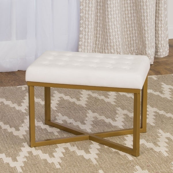 Silver Orchid Hartau Rectangular Ottoman with White Velvet Tufted Cushion and Gold Metal X Base. Opens flyout.