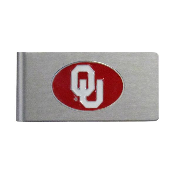 Oklahoma Sooners Sports Team Logo Brushed Metal Money Clip