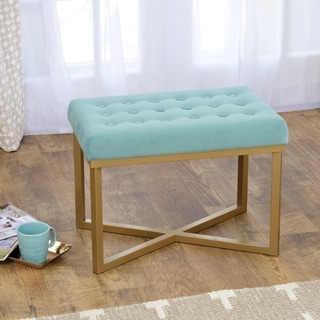 HomePop Rectangular Ottoman with Caribbean Velvet Tufted Cushion and Gold Metal X Base