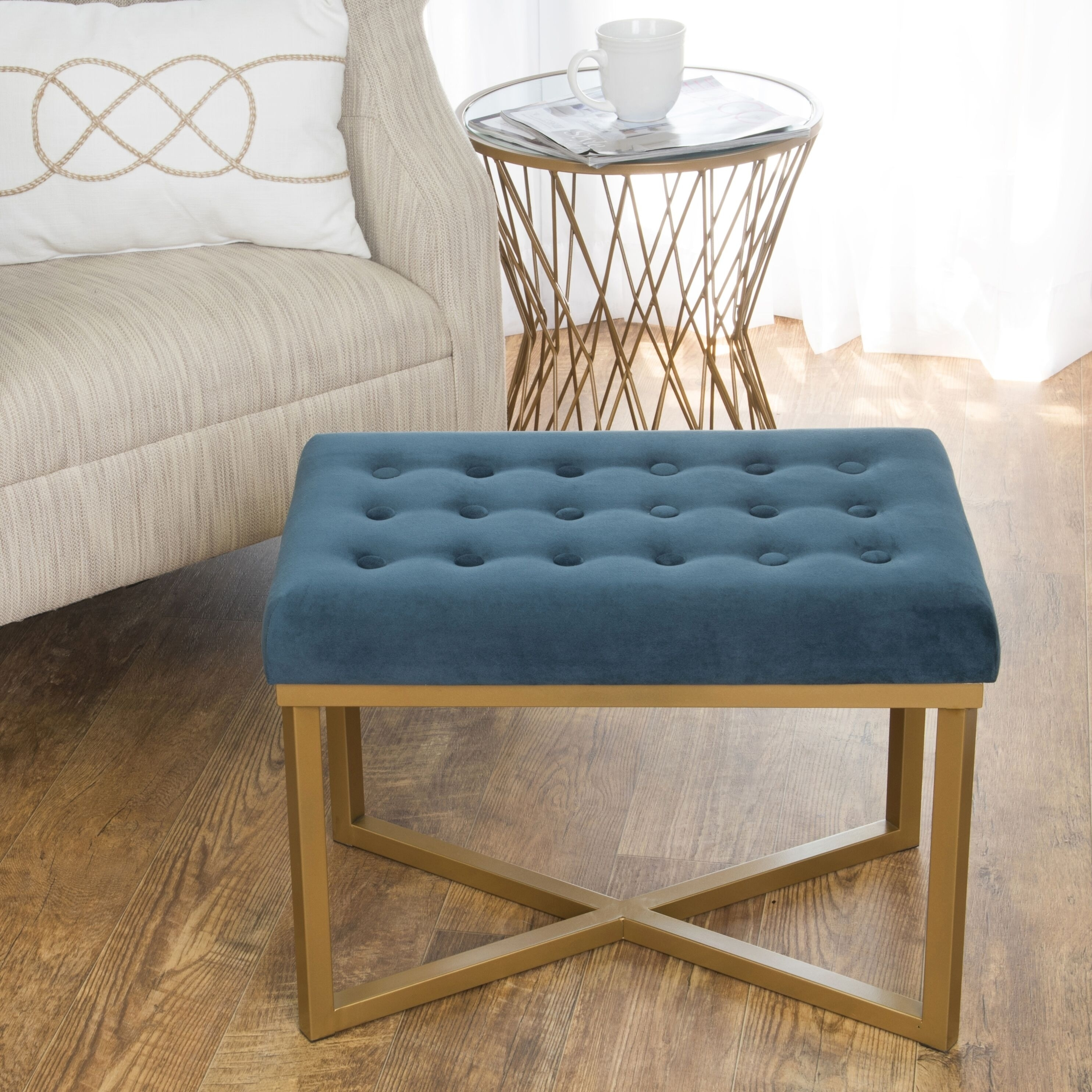 Silver Orchid Pugo Rectangular Ottoman With Midnight Velvet Tufted Cushion And Gold Metal X Base Overstock 11413266