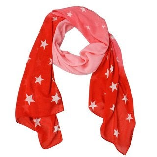 Peach Couture Women's Patriotic Star Print Lightweight Long Scarf (2 options available)