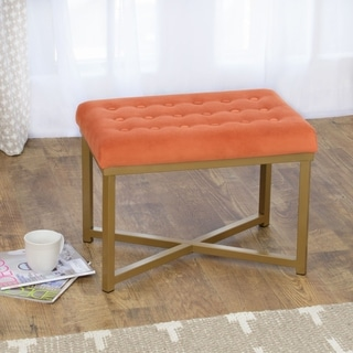 HomePop Rectangular Ottoman with Tuscany Velvet Tufted Cushion and Gold Metal X Base