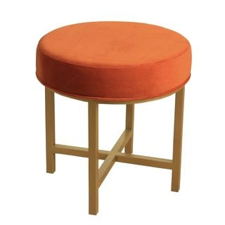 HomePop Round Ottoman with Tuscany Velvet and Gold Metal X Base
