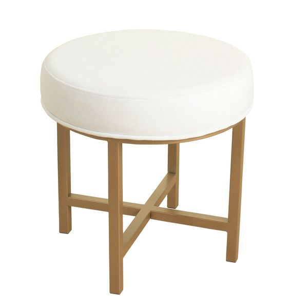 Homepop Round Ottoman With White Velvet And Gold Metal X