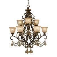 Crystorama Norwalk Collection 9-light Bronze Umber/Golden Teak Crystal Chandelier