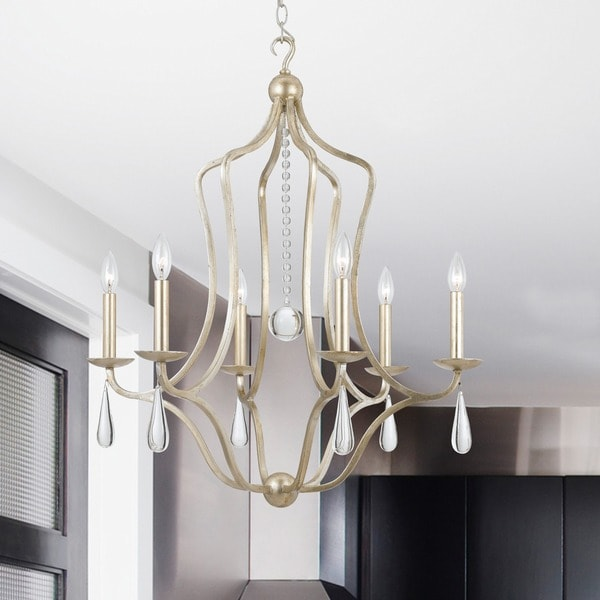 Shop Crystorama Manning Collection 6 Light Silver Leaf