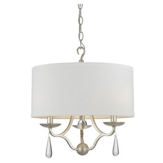 Crystorama Manning Collection 3-light Silver Leaf Chandelier