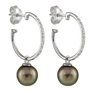 14k White Gold 1/6ct TDW Diamond and Tahitian Pearl Earrings (8-9mm)