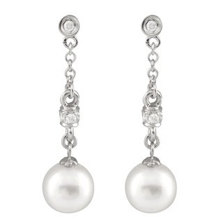 14k White Gold 1/6ct TDW Diamond and Dangling Akoya Pearl Earrings