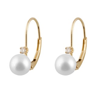 14k Gold Freshwater AA Pearl Leverback Earrings (6-7mm)