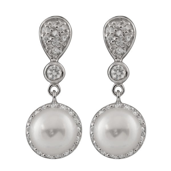 315691344 Shop Sterling Silver Cluster Cubic Zirconia and Freshwater Pearl Earrings - On  Sale - Free Shipping On Orders Over $45 - Overstock - 11413334