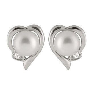 Sterling Silver Freshwater Pearl Heart Earrings (7-8mm)