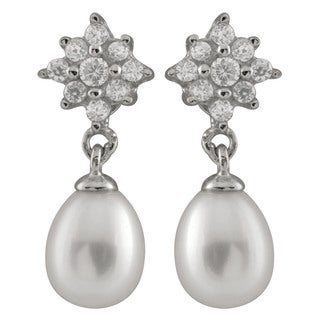 Sterling Silver Cubic Zirconia and Freshwater Pearl Earrings (7-8mm)