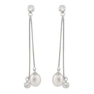 Sterling Silver Dangling Bezel Freshwater Pearl Long Earrings