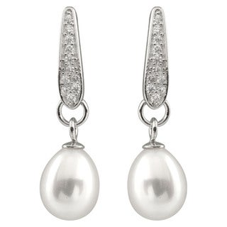 Sterling Silver Dangling Micropave Cubic Zirconia and Freshwater Pearl Earrings