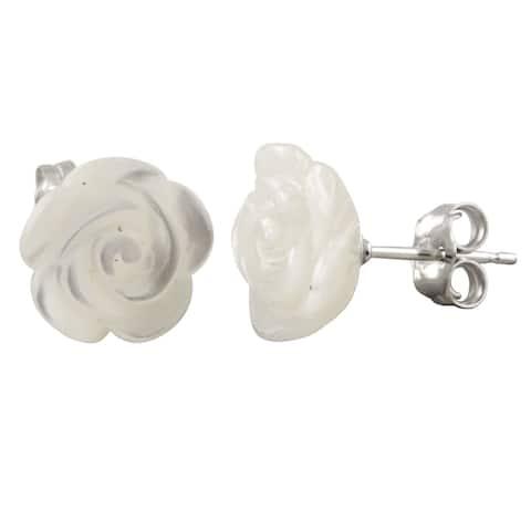 Sterling Silver Flower-shaped Pearl Stud Earrings (10-11mm)