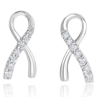 Andrew Charles 14k White Gold 1/2ct TDW Diamond Ribbon Earrings