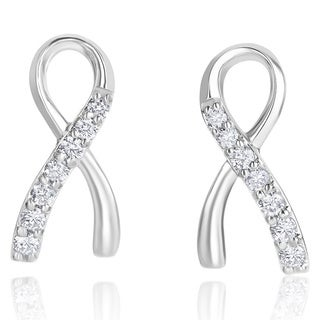 Andrew Charles 14k White Gold 1/2ct TDW Diamond Ribbon Earrings (H-I, SI2-I1)