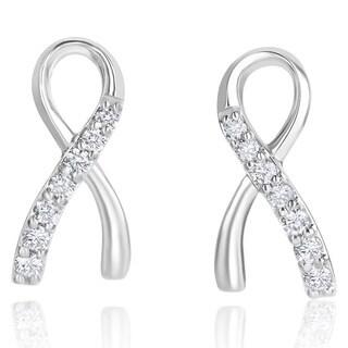 Andrew Charles 14k White Gold 1/2ct TDW Diamond Ribbon Earrings
