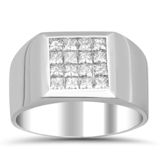 Artistry Collections 14k White Gold Men's 1 1/3ct TDW Diamond 4-row Invisible-set Ring (E-F, VS1-VS2)