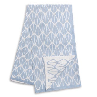 The Peanut Shell Blue and White Reversible Bamboo Blanket