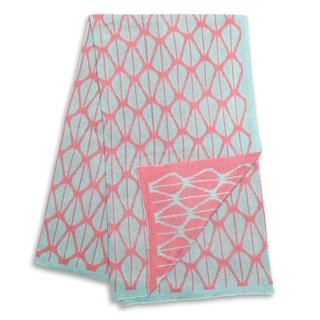 The Peanut Shell Coral and Aqua Reversible Blanket