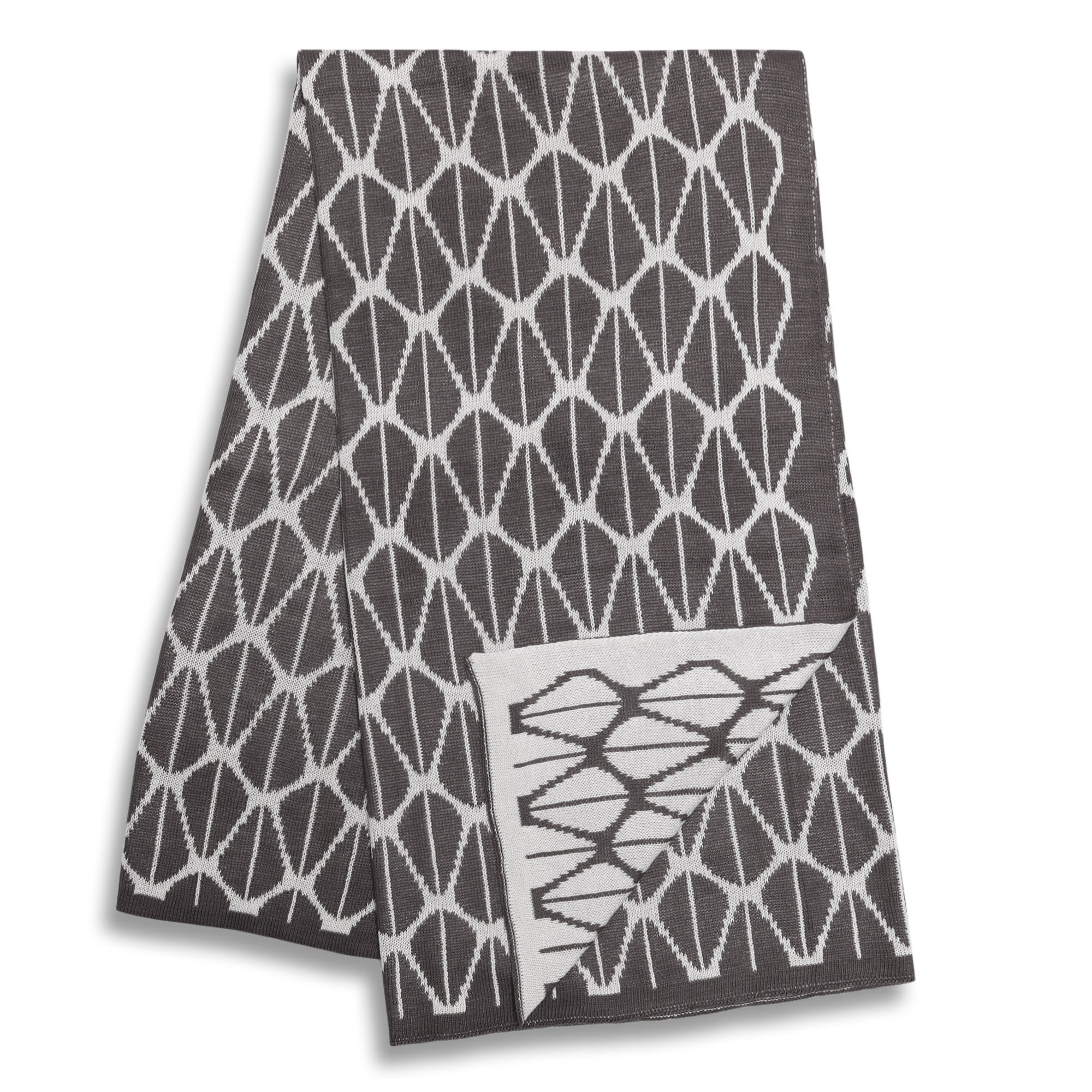 Peanut Shell Charcoal and White Reversible Blanket (Dark ...