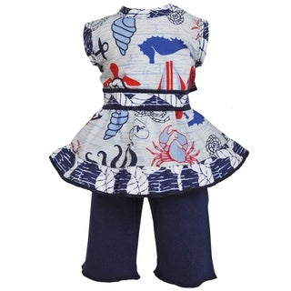 AnnLoren Blue and Red Nautical Hanky Clothing Set for 18-inch Dolls