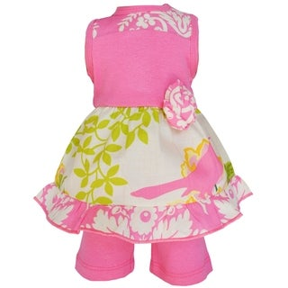 AnnLoren Pink Floral Birds Damask Clothing Set for 18-inch Dolls