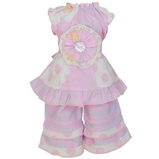 AnnLoren Pink Floral, Dots and Stripes 2-piece Outfit for 18-inch Dolls