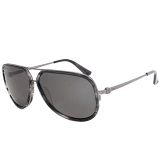 Salvatore Ferragamo SF637SP Striped Grey Metal Square Sunglasses