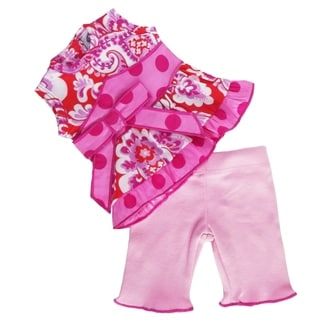 AnnLoren Pink and Orange Damask Zale Outfit for 18-inch Dolls