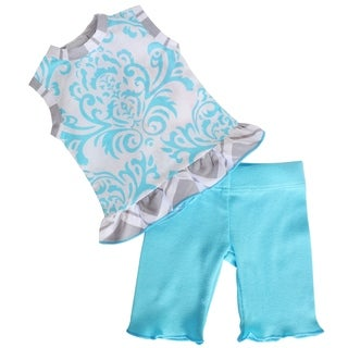 AnnLoren Blue Damask Demi Doll Outfit for 18-inch Dolls