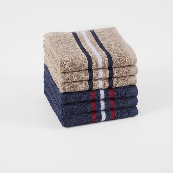 IZOD Varsity Stripe Wash Cloth Pack (set of 6)