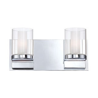 Alico Anchor 2-light Vanity with Chrome and Clear Outer Glass with White Opal Inner Glass