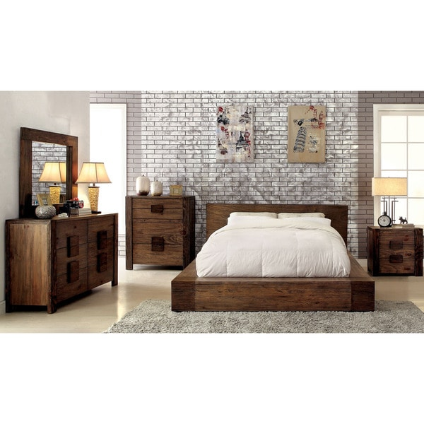 Shop furniture of america shaylen i rustic 4 piece natural - Rustic bedroom furniture for sale ...