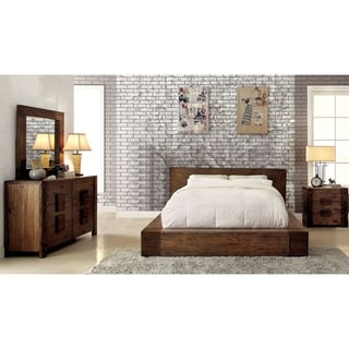 Furniture of America Shaylen I Rustic 4-piece Natural Tone Low Profile Bedroom Set