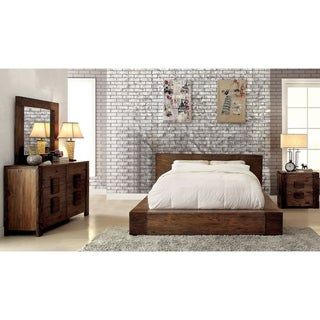 Furniture of America Shaylen I Rustic 4-piece Natural Tone Low Profile Bedroom Set