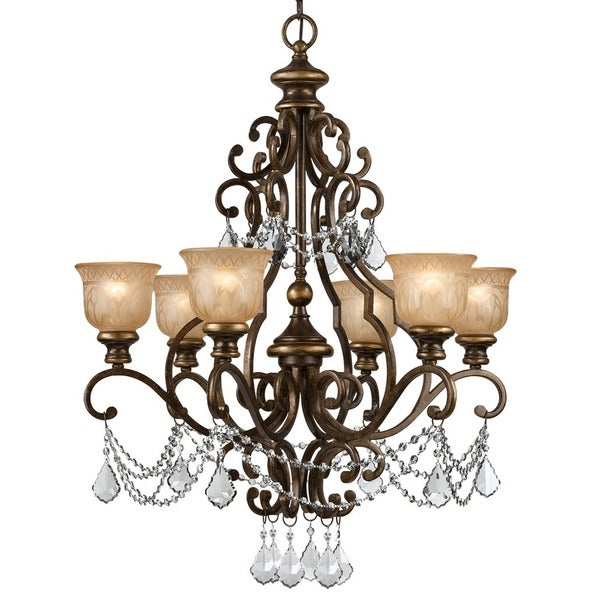 Crystorama Norwalk Collection 6 Light Bronze Umber Crystal Chandelier Free Shipping Today