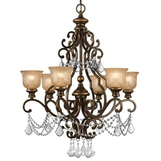 Crystorama Norwalk Collection 6-light Bronze Umber/Crystal Chandelier